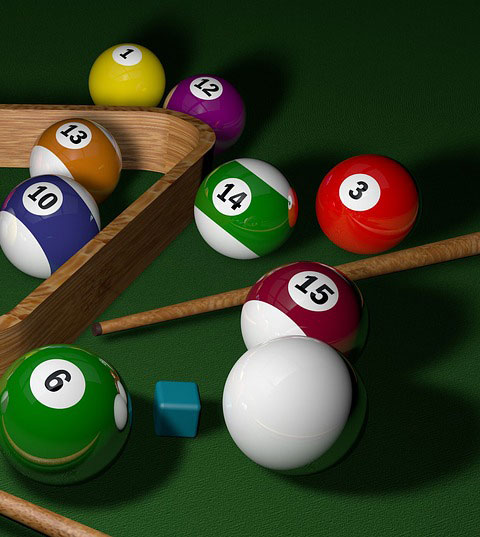 Pool table balls, cues & chalk
